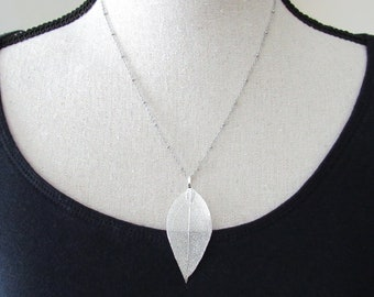 Real Leaf Necklace Small Silver Leaf
