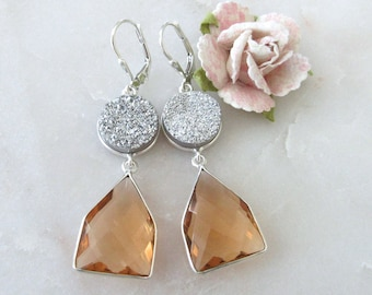 Silver Druzy and Morganite Stone Sterling Silver Leverback Earrings