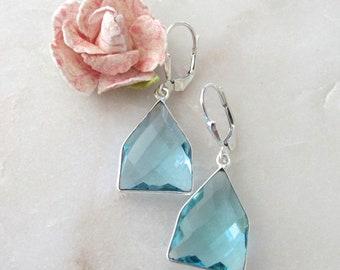 Sky Blue Topaz Sterling Silver Leverback Earrings