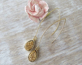 Druzy Earrings Gold Druzy Drops Long Gold Earwire