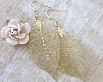 Gold Dipped Real Leaf Earrings Hypoallergenic