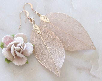 Rose Gold Real Leaf Earrings