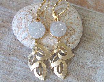 White Druzy Gold Leaf Earrings