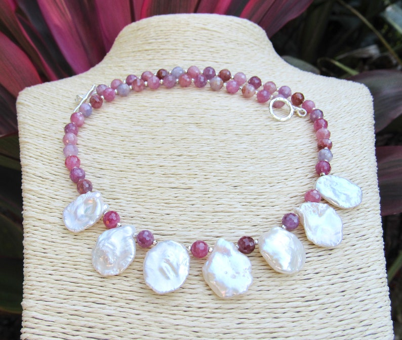 Genuine Ruby Gemstone and Keshi Pearl Necklace Featuring Hill Tribe Fine Silver