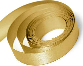Old Gold Satin Ribbon available in 2 ribbon widths 15mm, 23mm