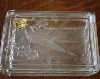 Vintage Bohemia Czech Glass Trinket Box