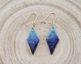 Beautiful ceramic earrings with 14K gold filled; gift for here; blue ombré; wedding