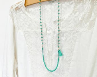 Tassel Necklace, Long Beaded Necklace, Bead Cain Necklace, Blue Beaded Necklace, Birthday Gift, Christmas Gift