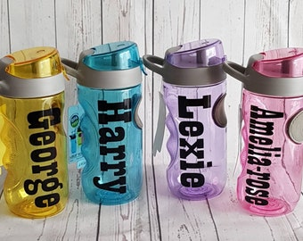 f183c8cf1b Kids personalised water bottle pink purple blue yellow no straw great  quality and great for back to school holidays