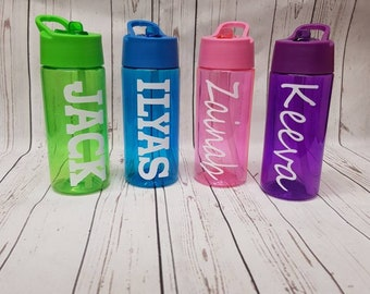 685a4150ab Kids personalised water bottle pink blue purple or green with flip up straw  great quality and great for back to school or holidays