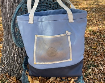 Two Toned Blue Leather Tote,  Packable, Perfect size with outside/Inside pockets, zippered pocket lined in Leather,  Peace sign Brand