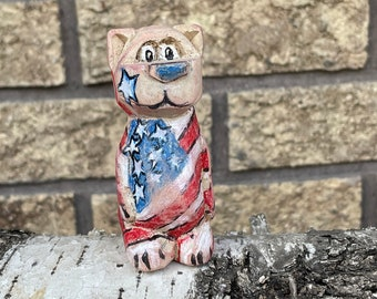 """3.5"""" Proud to be an American Bear, Made in MN, Hand Carved, Great Gift, Hand Painted, Take a Bear Home, American Flag"""