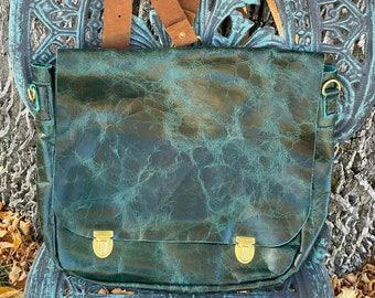 Distressed Turquoise Leather Messenger Style Bag, Backpack/Shoulder Bag, Outside pocket, Removable inside Zippered pouch, Perfect Bag