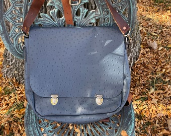 Ostrich Look Genuine Leather Messenger Style Bag, Backpack/Shoulder Bag, Outside pocket, Removable inside Zippered pouch, Perfect Bag