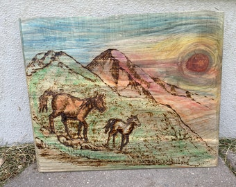 Horses Running Free Wood Burning Wall Hanging, Driftwood Hanging, Landscape Art, Minnesota Made, Old Wood Western Scene, Collectible Piece