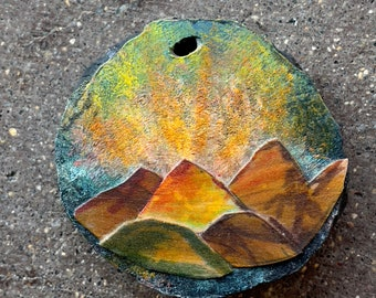 """3"""" The Mountains are Alive Painting, Ironwood with inlayed Mountains, Painted sky, One of a kind Art, Wall hanging, Rustic country, MN Made,"""