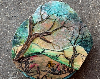 3.50 Summer Day Painting, Ironwood with inlayed Mountains and Trees, Painted sky, One of a kind Art, Wall hanging, Rustic country, MN Made,