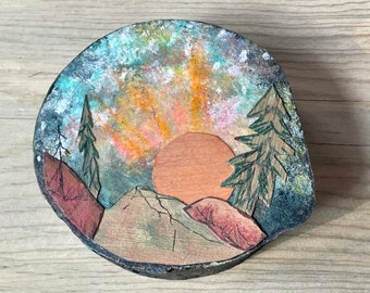 """5.5"""" Morning Glow Scene, Ironwood with inlayed mountains and trees, Painted sky, One of a kind Art, Wall hanging, Rustic country, MN Made,"""