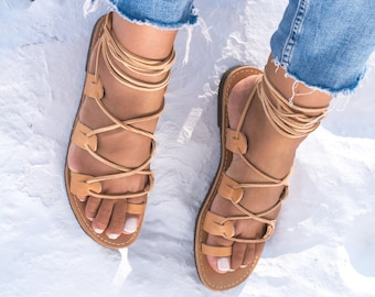 92df91dd75127a Lace up sandals   Tie up sandals   Spartan sandals   Gladiator sandals    Greek leather sandal   Greek sandals   Tan sandals   CHALKIA.  KYANIAcreations