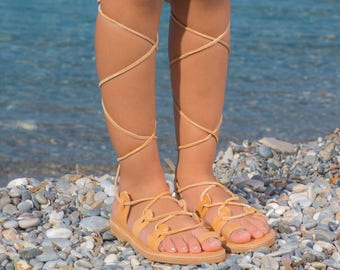 38c7575fdcd75d CHALKIA kids - Girl Spartan Greek Leather sandals   Gladiator sandals   Kids  Lace up sandals   Girl tie up sandals