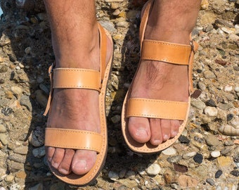 Mens leather sandals Gladiator ankle strap greek sandals for men - Aeginia