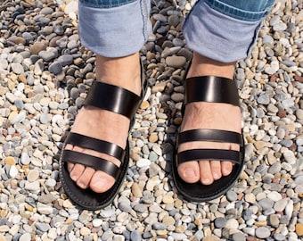 Mens leather sandals Black Men greek sandals Gladiator ankle strap greek sandals for men - SERIFIA
