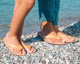 df3afe0f4c91 Mommy and Me leather flip flops