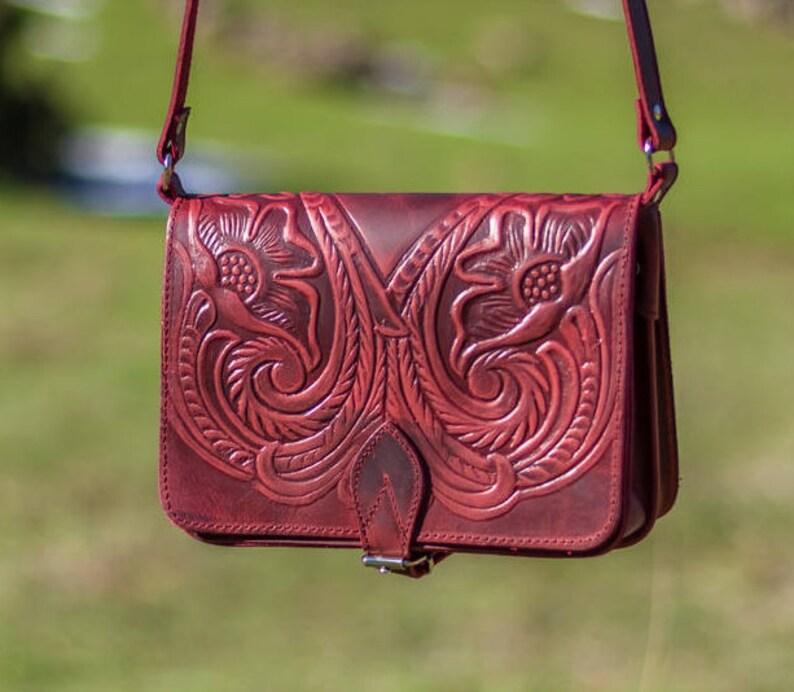 b45582cd669e Crossbody bag Shoulder bag Tooled leather bag Small crossbody