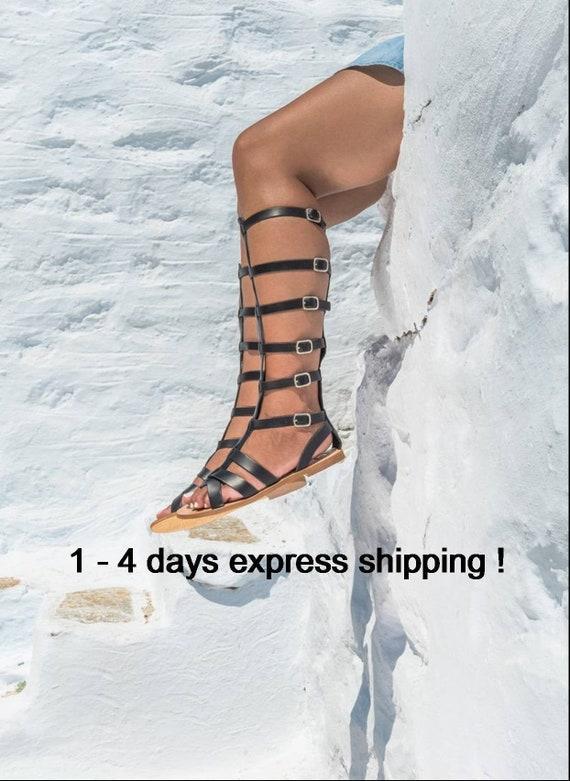Black Leather sandal boots Women gladiator sandals Greek sandals Leather handmade spartan sandals Summer flat shoes KIMOLIA