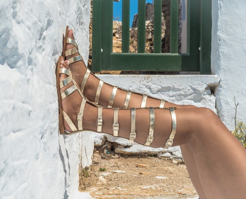 66d3d3ae9213ad Gold Leather sandal boots Women gladiator sandals Greek