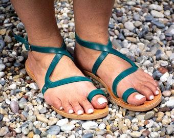 Toe ring womens sandals Minimalist sandals Petrol Leather sandals Handmade summer shoes Elegant women leather sandals ASTYPALEA