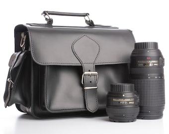 Black leather camera bag Men DSLR camera bag  Women Leather satchel