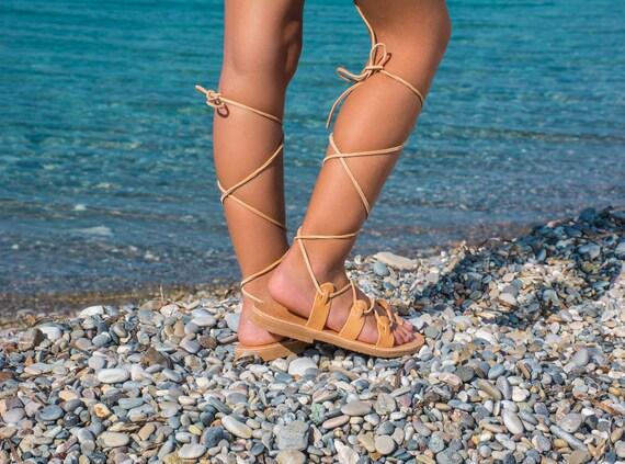 CHALKIA kids Girl Spartan Greek Leather sandals Gladiator sandals Kids Lace up sandals Girl tie up sandals