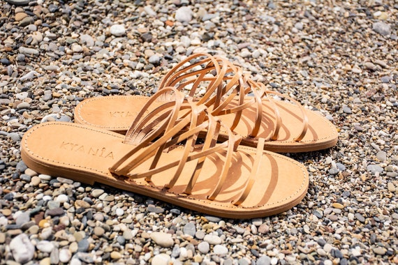 Sandales cuir d en se cuir en grec sandales sandales glisse en cuir minimalistes rUFqSrw