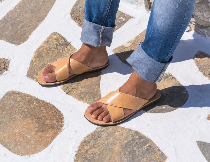 79dfbe283d08 Leather sandals men Greek sandals slip on Criss cross handmade