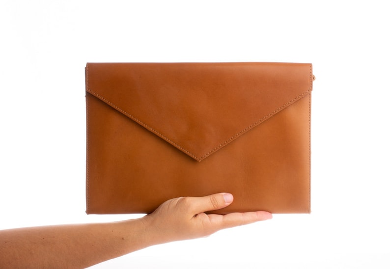 e3887668dc07 Brown leather clutch Leather envelope bag Taba Leather