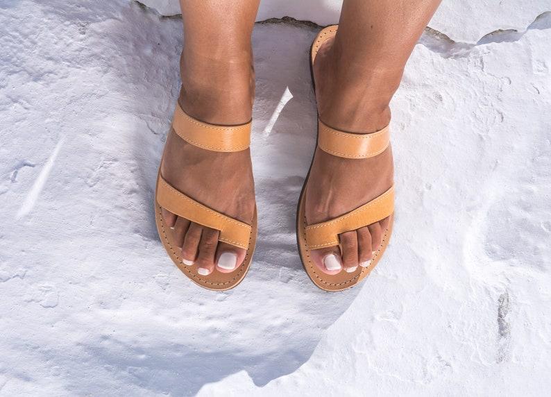 f7d9ad075cfb65 Minimalist leather sandals women Greek leather sandals Tan