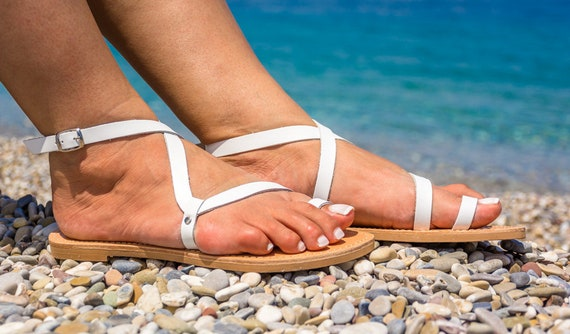 grecques Exclusive en Kyania en gladiateur Astypalea KyaniaCreations cuir blanc Sandales gxZdwRTqw