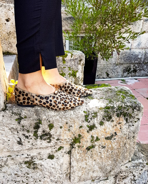 Round Toe Ballet Flat Ornament Comfortable Insole Vegan Patent Padded Arch Support Leopard Print Vegan Patent PIC//PAY Kelli