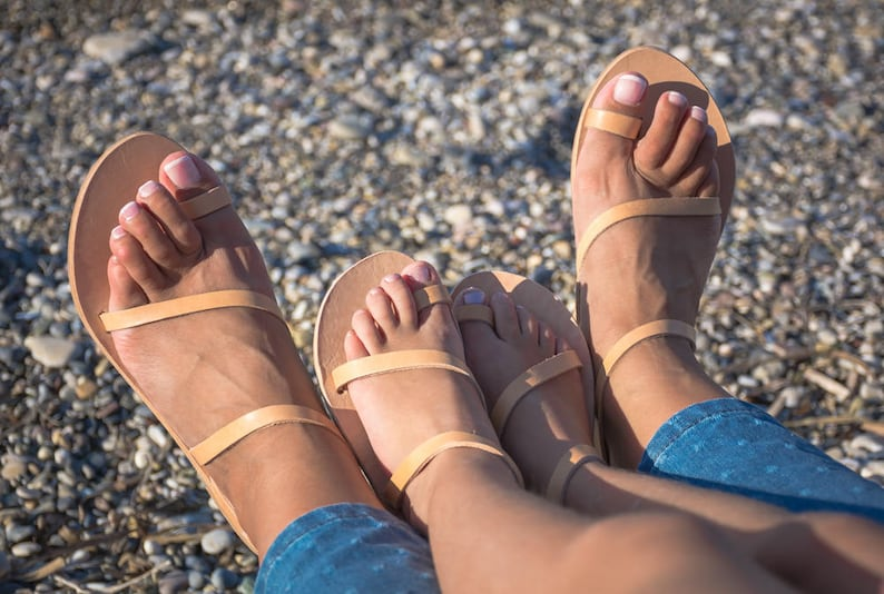 238f9d9ba NISYRIA Combo Mommy and me greek leather sandals   Natural
