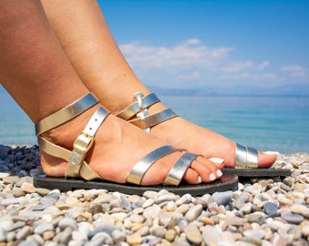Leather sandals women Gold leather sandals for women Ankle strap gold black sandals Minimalist open toe Handmade summer shoes Trizonia