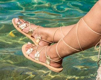 Sandales en cuir à lacets / Sandales en cuir grec / Sandales femme / Sandales femme en or / Sandales grecques / Sandales en or CHALKIA Gold