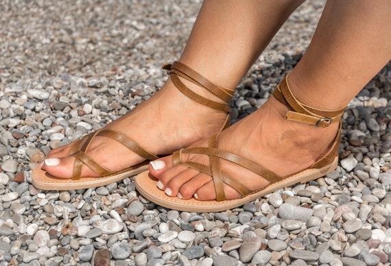 Delia en en Sandales antique dames pour grecques KyaniaCreations marron cuir w1aX7zRq