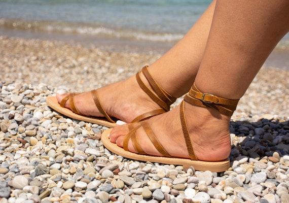 Sandales en cuir marron en cuir en grecque femmes cuir Sandales Sandales 7Iwq6dPP