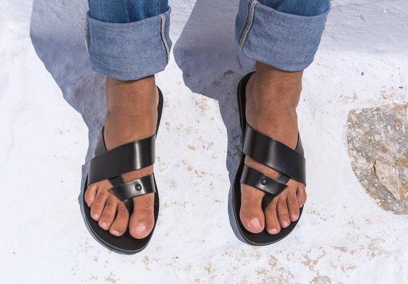 Next Shoes Leather Black Shipment Ancient Men Summer Greek Slip Kyania Greece Working Sandals On Slides Agistria Day eordExQWCB