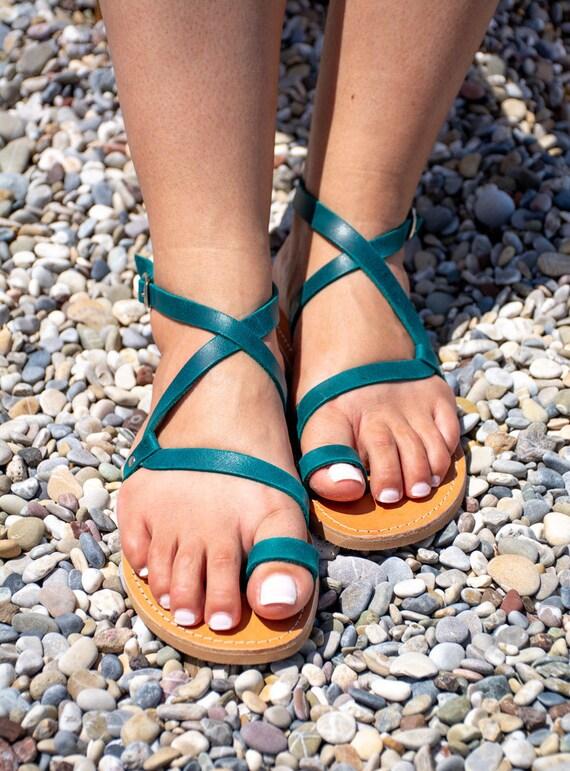 grecques en gladiateur cuir bleu en p Sandales OdwSxqd