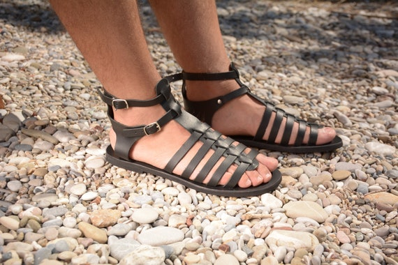 Leather sandals men, Gladiator sandals Greek sandals Men summer shoes black sandals Spartan strappy Roman sandals Kytheria KYANIA