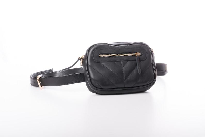 e6b911237e1 Black leather belt bag Womens small belt purse Extra small