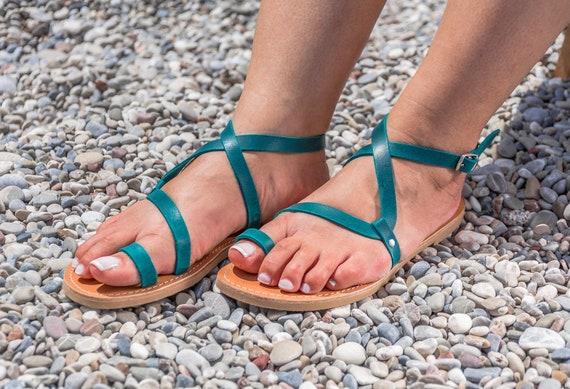 Sandales cuir gladiateur en bleu p en grecques rwAqExUr