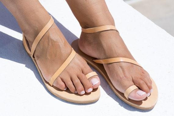 Leder Sandalen Frauen minimalistischen griechische Sandalen